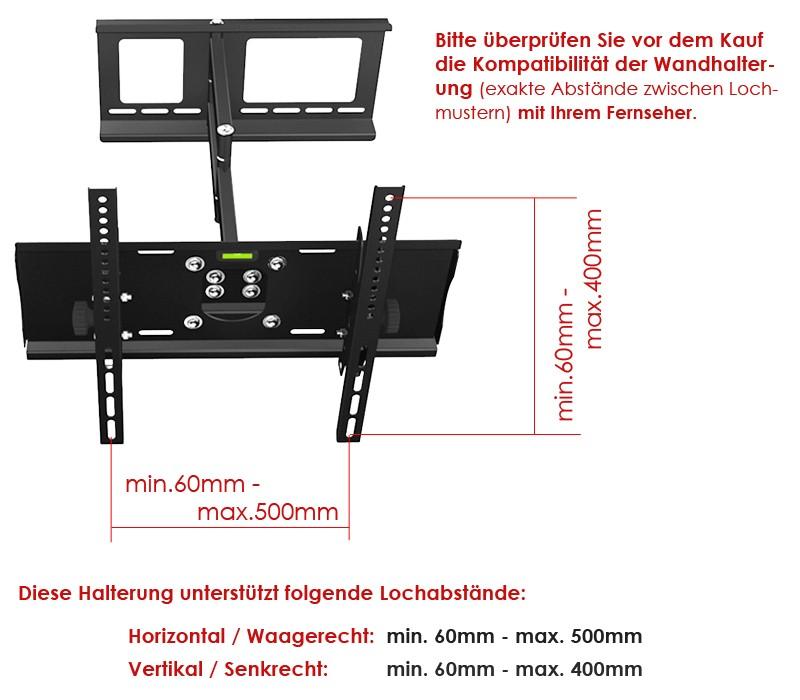 lcd led plasma tv wandhalterung 37 40 42 46 50 55 60 zoll schwenkbar. Black Bedroom Furniture Sets. Home Design Ideas