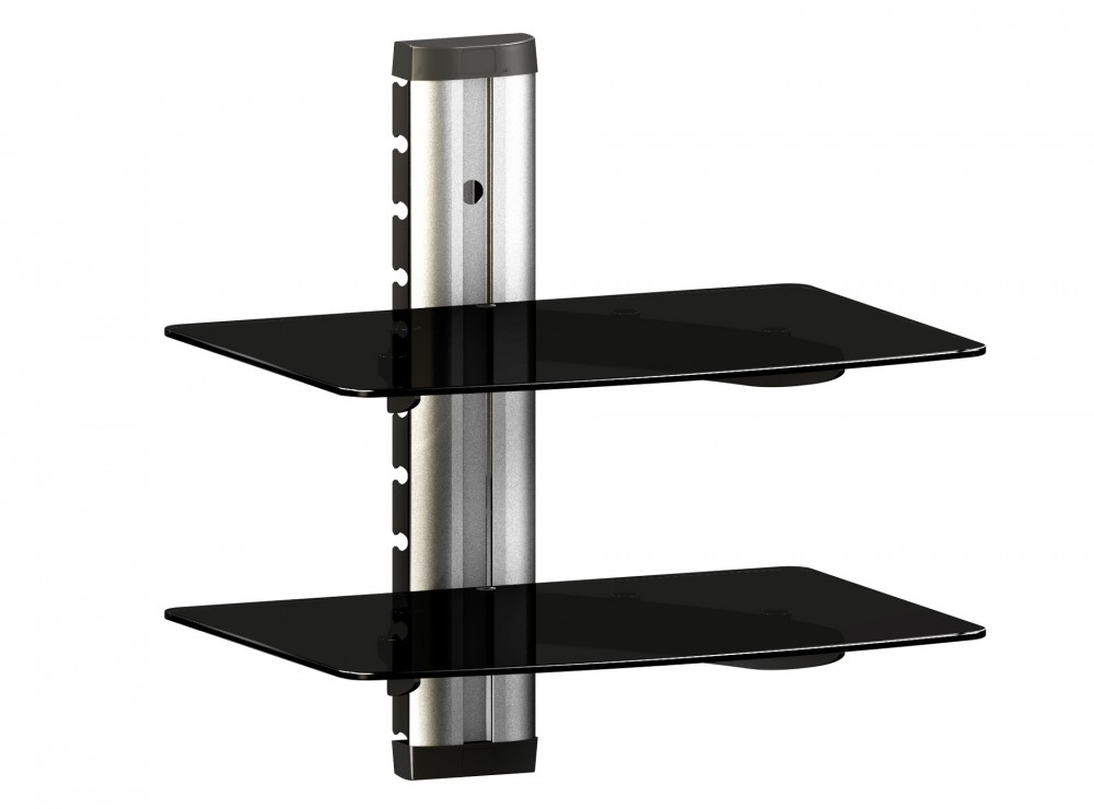 universelles dvd hifi media glas regal wandhalterung 2. Black Bedroom Furniture Sets. Home Design Ideas