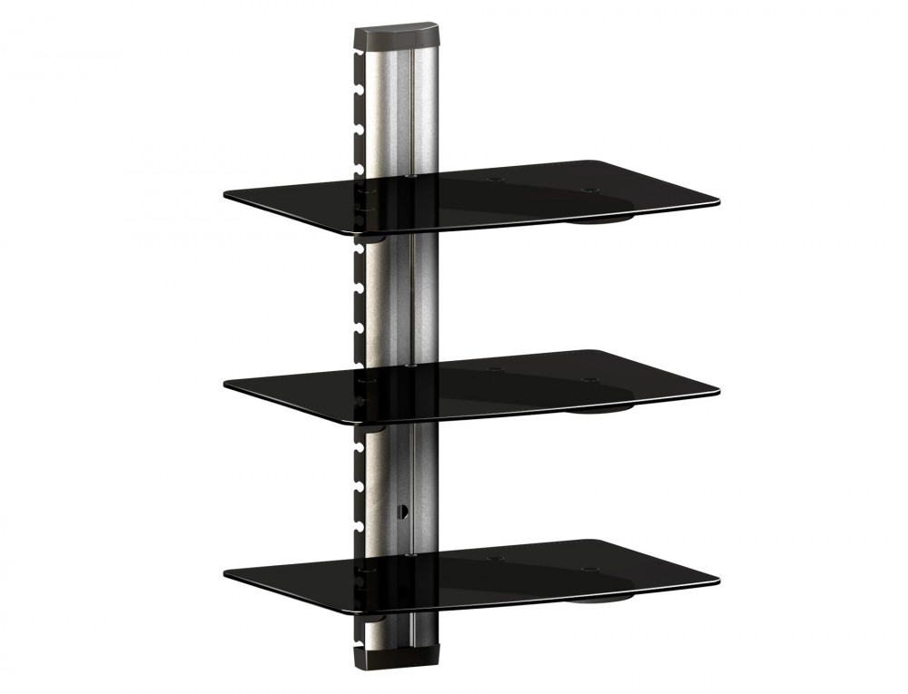 universelles dvd hifi media glas regal wandhalterung 3 ablagen rdv 0112 ebay. Black Bedroom Furniture Sets. Home Design Ideas