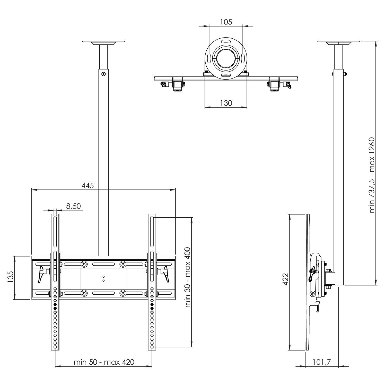 tv deckenhalterung fernseher deckenhalter schwenkbar dach wandhalterung d0244 ebay. Black Bedroom Furniture Sets. Home Design Ideas