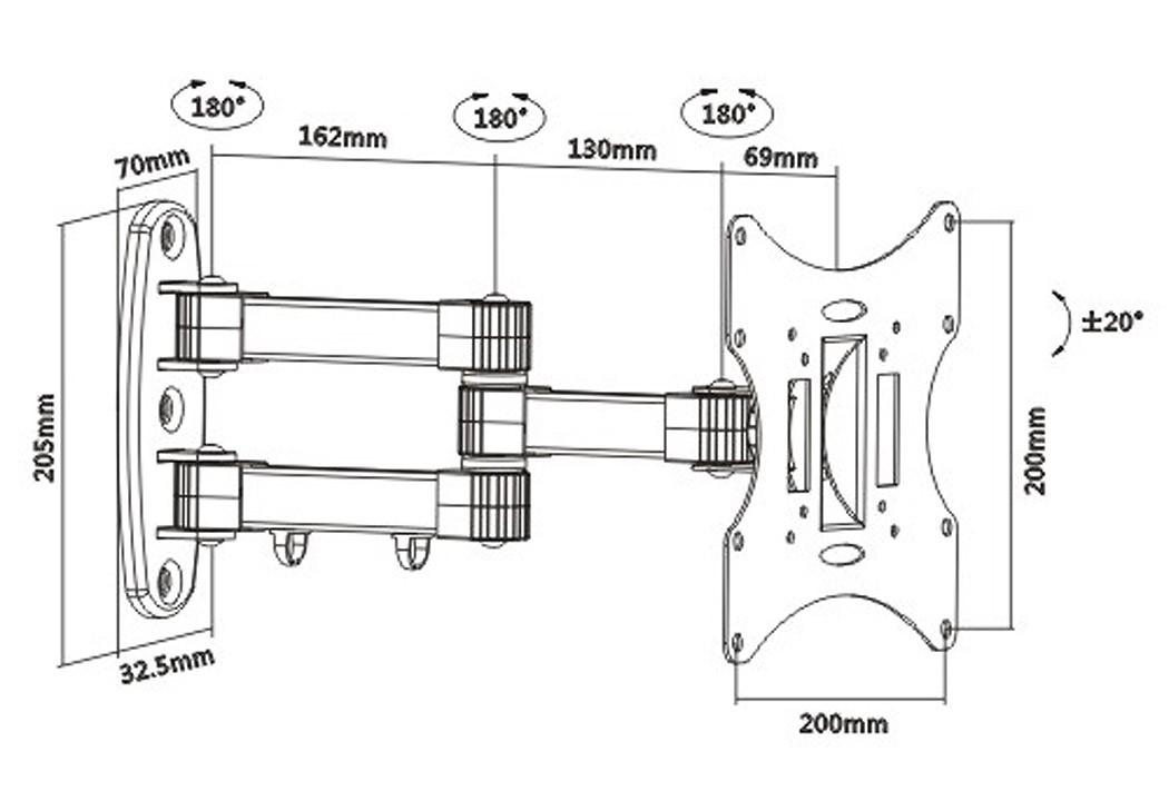 wandhalterung mit kabelf hrung schwenkbar neigbar s2522 10982. Black Bedroom Furniture Sets. Home Design Ideas