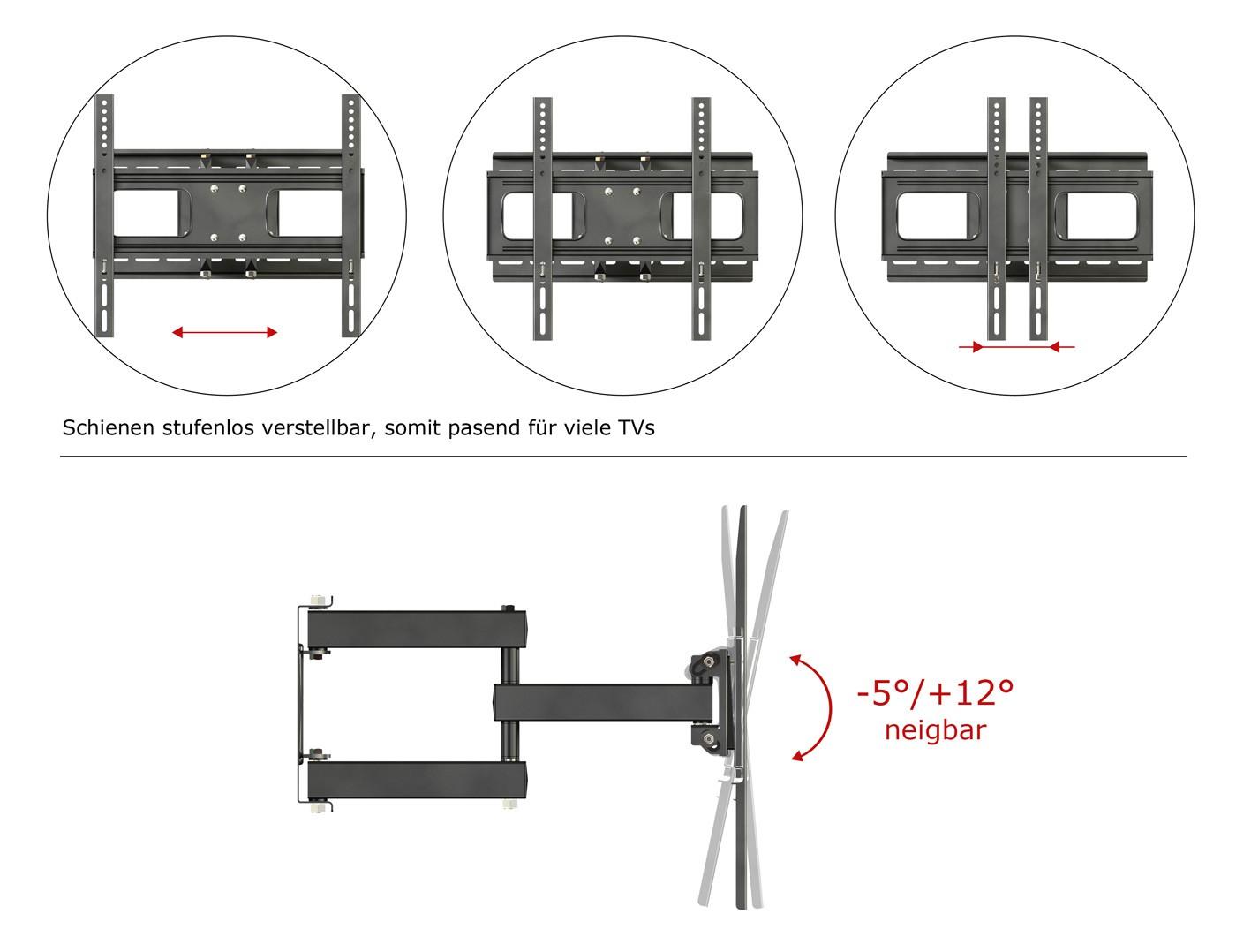 Ricoo wandhalterung tv schwenkbar neigbar s1544 universal lcd wandhalter ausziehbar fernseher - Wandhalterung flachbildfernseher ...