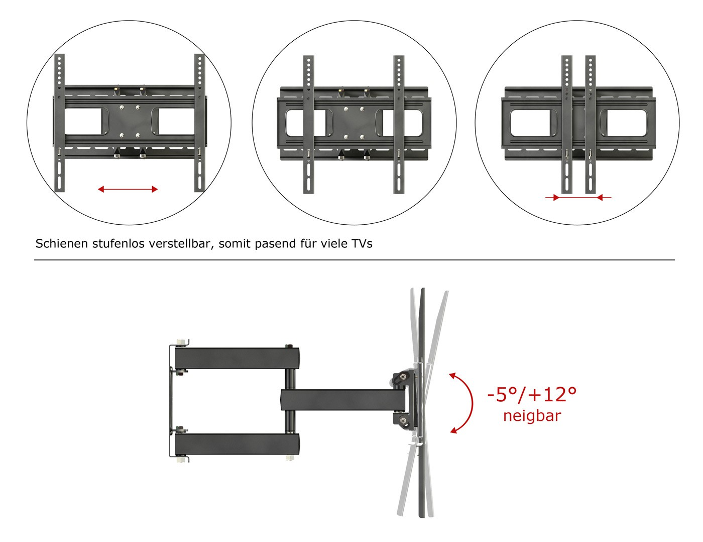 ricoo wandhalterung tv schwenkbar neigbar s1544 universal. Black Bedroom Furniture Sets. Home Design Ideas