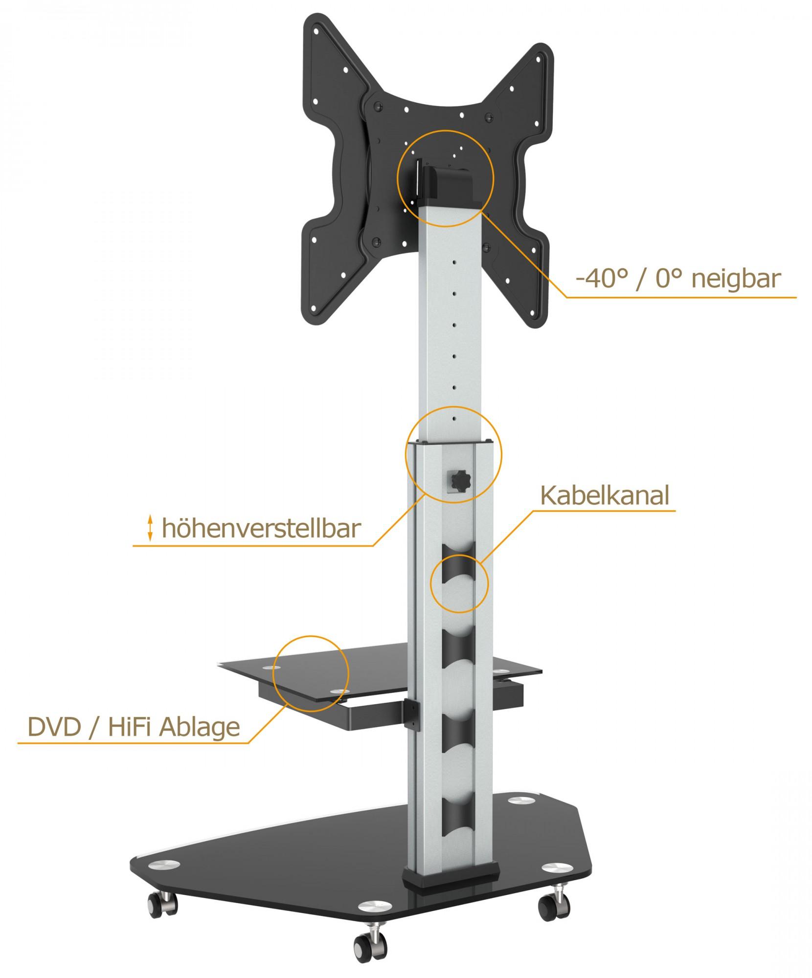 tv standfu mit rollen h henverstellbar neigbar fs0200 11182. Black Bedroom Furniture Sets. Home Design Ideas