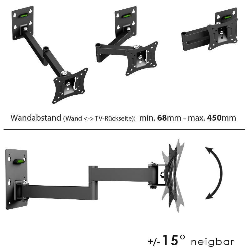 ricoo monitorhalterung wand monitor wandhalterung tv schwenkbar neigbar r02 11 tft halterung 4k. Black Bedroom Furniture Sets. Home Design Ideas