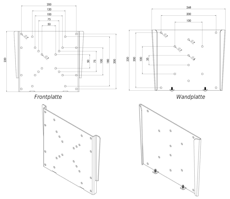 flache wandhalterung f r monitor tv vesa 200 f0522 10913. Black Bedroom Furniture Sets. Home Design Ideas