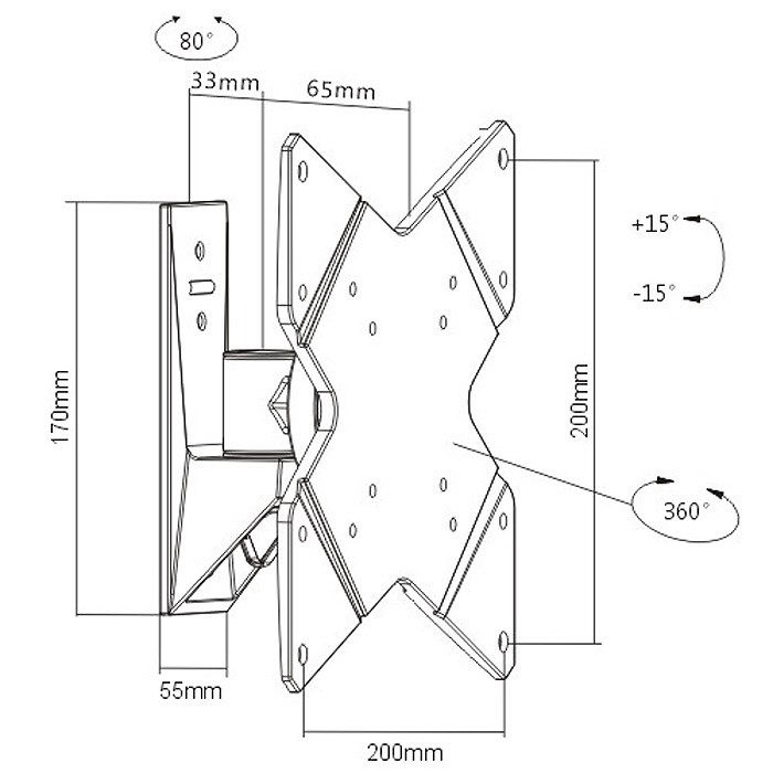 Tv drehbar 360° Monitorhalterung drehbar 360° TV LED LCD TFT | S1522 10759